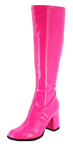 Das Kostümland Gogo Damen Retro Lackstiefel - Pink Gr. 39 - Tolle Schuhe zur 70er 80er Jahre Disco...