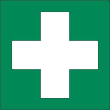 2 Stück Aufkleber Rettungszeichen Grün mit weißem Kreuz für Erste Hilfe Einrichtungen 10x10 cm