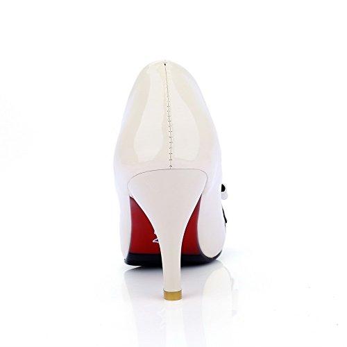 AgooLar Damen Ziehen Auf Spitz Zehe Stiletto Gemischte Farbe Pumps Schuhe Cremefarben
