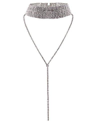 DELEY-Fashion-Frauen-Damen-Multi-Reihen-Strass-Choker-Pullover-Lange-Halskette-Schmuck