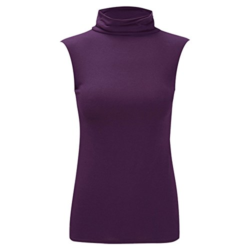 Damen New Celeb Polo Rollkragen Ärmellos Damen Basics Sommer Shirt Top 8-26 Purple - Ideal for Summer Holidays Beach Top