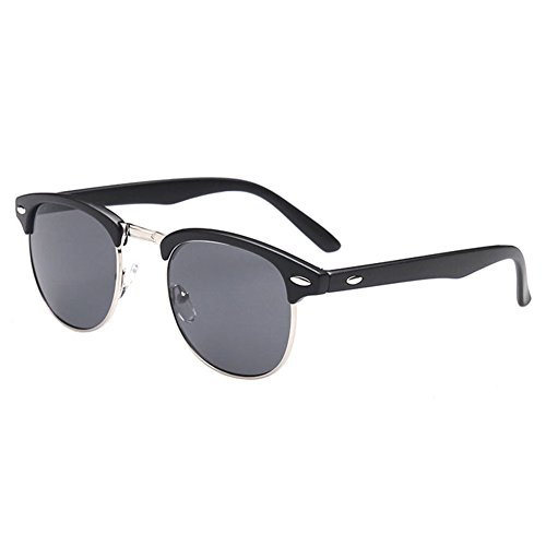 Deylaying Herren Myopie Sonnenbrille Halber Rahmen UV400 Kurzsichtige Linsen Fahren Gläser Negativ Stärke 0,5~6,0 (Dies sind nicht Lesebrille)