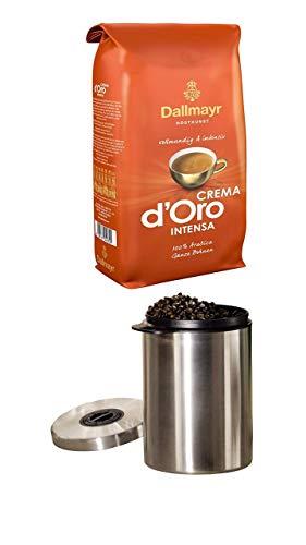 Dallmayr Kaffee Crema D'oro Intensa(1 x 1000g Beutel) + Kaffeedose, für 1kg Kaffeebohnen, Behälter für Kaffee, Tee, Kakao, mit Aromaverschluss, Edelstahldose, luftdicht, 1000g, Silber