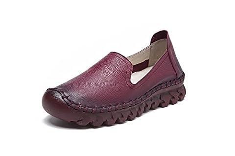 Femmes Nouveaux Loisirs Chaussures Chaussures Chaussures Chaussures Douces Bottines Rondes Bouche Faible Pompes antidérapantes en cuir véritable Fall Spring Party Work , Wine Red , EUR 36/ UK 3.5-4