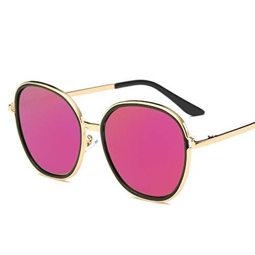 Karidesh Übergroße runde Sonnenbrille für Männer Damen Classic Metal Frame Round Circle Mirrored Sunglasses (Color : D)