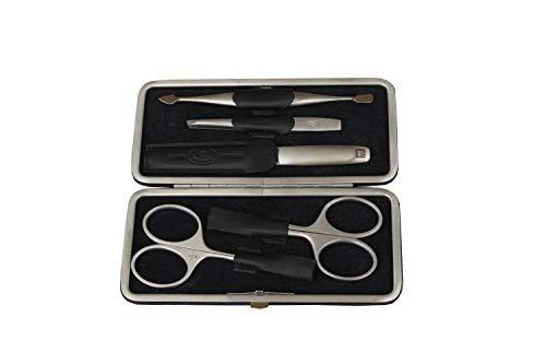 ZWILLING TWINOX Nagelpflege-Set 5-teilig mit Hautschere, Nagelschere, Nagelfeile, Pinzette, Doppelinstrument, Edelstahl rostfrei, mattiert, Nageletui aus Elchleder (schwarz)