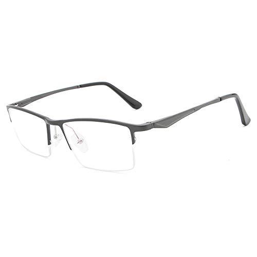 Rahmen Aluminium-Magnesium Ultraleichte Blaue Flache Spiegelgläser Brille (Color : Grau, Size : Kostenlos)