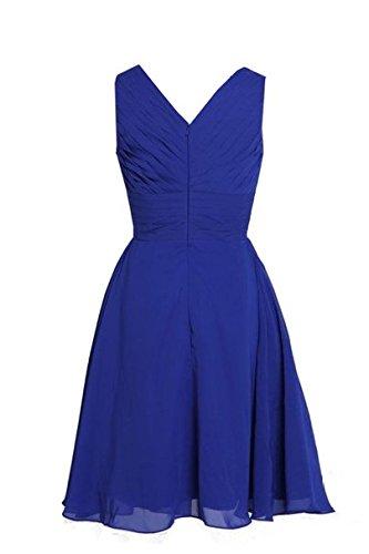 KekeHouse® Robe Midi Courte de Cérémonie Soirée Demoiselle d'honneur Femme Fille Col V Mousseline d'été Lavande
