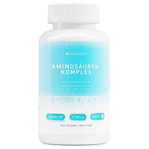 Aminosäurenkomplex vegan - 320 Tabletten a 1000 mg | 40 Tage Vorrat | hochdosiert | Komplex aus Aminosäuren inkl.essentieller Aminosäuren | aus veganen Proteinen | ohne Magnesiumstearat | von Kleeberg