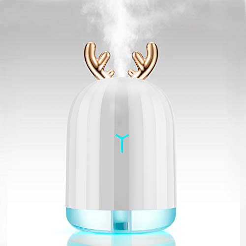 Mini Antlers umidificatore a ultrasuoni Moojay Freddo Mist 220ml | Portatile e silenzioso con la respirazione colorata LED Luce | Umidificatore USB per Home Office e auto