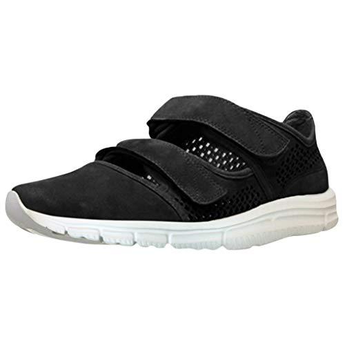 SEHRGUTGE Frauen Outdoor Sports Sandalen - Plattform Stoßdämpfend Gepolstert - Doppel Schnalle, Atmungsaktiv Hohl Loafer Flaforms für Workout/Laufen/Gehen