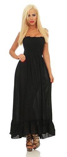 10151 Fashion4Young Damen Maxikleid Langes Kleid Sommerkleid Partykleid Gesmokt Volant (schwarz, 36-38) -