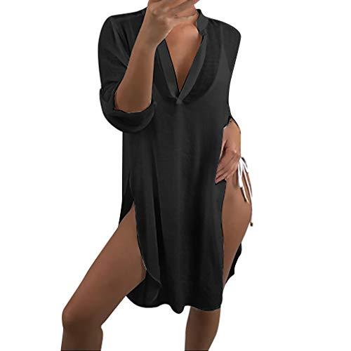 Battnot❤ Damen Bikini Cover-Ups Sommer V-Ausschnitt Solide Sexy Voilenkleid Wickeln Vertuschen Strandkleider Reise Bluse, Frauen UV-Schutz Sonnenschutz Strandponcho Urlaub Badeanzug Kittel Beachwear -