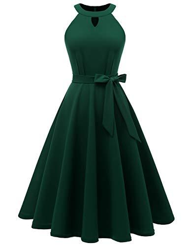 Dresstells 1950er Midi Rockabilly Petticoat Kleid Neckholder Cocktail Festliche Kleider DarkGreen M (M Und M Packet Kostüme)