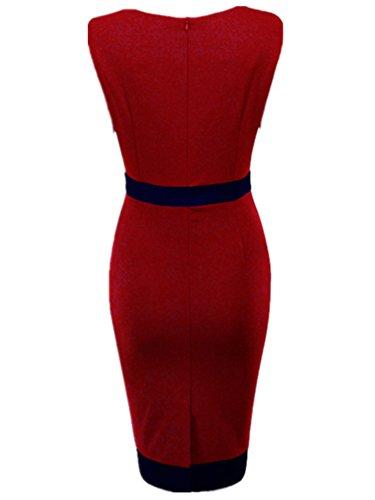 Chez BoBos Robe Femme Courte Rayures Col V Moulante Robe Crayon Rouge