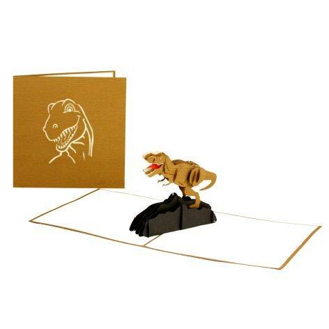 """3D Pop Up Karte """"Dinosaurier - T-Rex"""", Dino Geburtstagskarte, 3D Klappkarte Tyrannosaurus Rex, handgefertigte Glückwunschkarte, Grußkarte 3D für Geburtstag & Kindergeburtstag"""