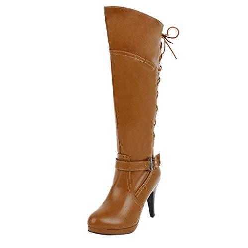 Hinteren Ferse (Fuibo Damen Stiefel mit Pfennigabsatz, Gürtelschnalle Hintere Krawatte der Mode-Retro- Frauen beschuht runde Zehe feine Fersen-hohe Stiefel |Winterstiefel Stiefel Schlupfstiefel (40, Gelb))
