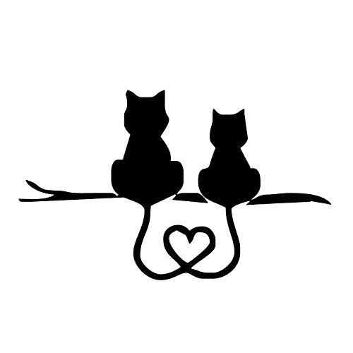 Cvxgdsfg Zwei Kätzchen, liebevolle Katzen, niedliche Rückseite, Tierautoaufkleber, Autoaufkleber (Color : Black) -