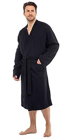 INSIGNIA Men's 100% Cotton Robe Dressing Gown, Soft Waffle Robe Wrap Loungewear (M/L, BLACK)