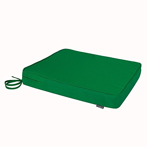 Bean Bag Bazaar Outdoor Seat Pad Cushion - 43cm x 50cm - Foam Filled, Water Resistant - Decorative Cushions for Garden Chair, Bench, or Sofa with Ties (1, Garden Green)