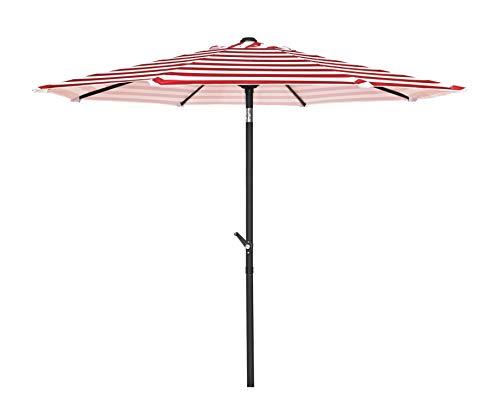 HERMO 98S Roun 9 Ft Outdoor Patio 8 Ribs Market Table Umbrella, red - 9' Market Umbrella Base