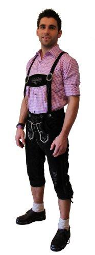 Kniebund Trachten - Lederhose Farbe schwarz, mit Hosenträger, Größe 44