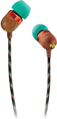 House of Marley Smile Jamaica In-Ear Kopfhörer - 1-Knopf Steuerung, Geräuschisolierung, 9.2mm Treiber, Mikrofon, Gelaufsätze in 2 verschiedenen Größen, verwicklungsfreies Kabel - Rasta