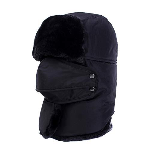 Forspero Motorrad Winter Russian Hat Trapper Bomber Snow Ski Ear Schutz Wasserproof Warm Riding Hut - Black -