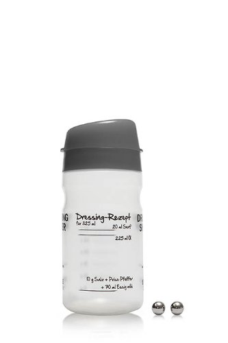 325-ml-Dressing-Shaker in dunkelgrau mit Emulgierkugeln aus Edelstahl