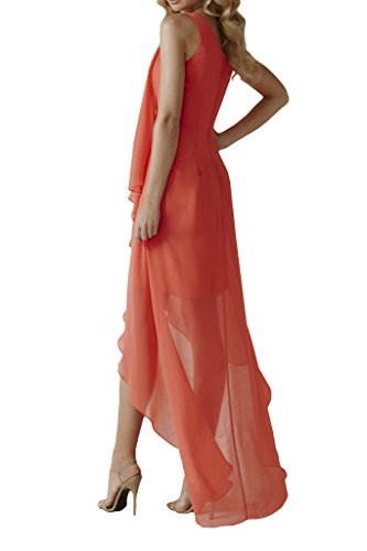 Missdressy Damen Abendkleid Falte Hi-Lo Chiffon Partykleid Ein-Traeger Lang Orangerot