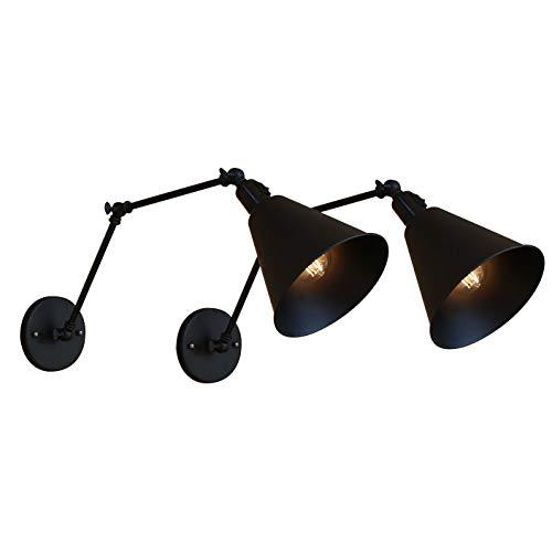 Wandleuchte Vintage Flexibel Leselampe Nachttischlampe mit Schalter Druckknopf Schlafzimmer Bett Leselampe Schwarz Verstellbar Wandlampe Innen E27 für Bürozimmer Arbeitszimmer Studieren,2Pack -