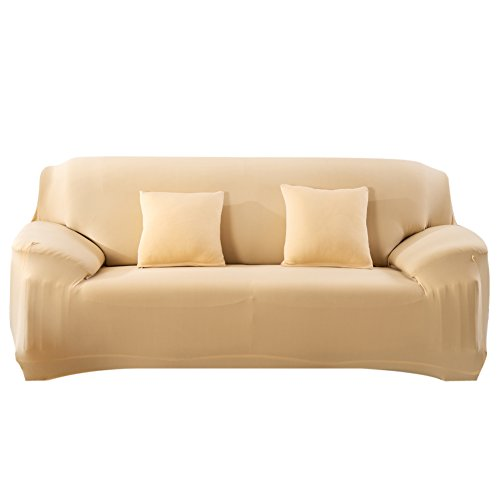 Fashion Slipcover Stretchable Pure Color Sofa Cushion Cover(Loveseat Beige)