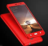 Micomy Ipaky 360 Degree All-round Protective Slim Fit Front And Back Case Cover for Oppo A37 -Red With Tempered Glass Screen Protector