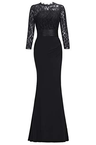 Babyonline® Damen Elegant Abendkleider mit Spitzen Abschlusskleider Brautjungferkleid,Schwarz,XL