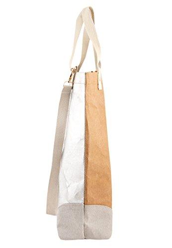 Adelheid Damen Glückspilz Streifen Einkaufstasche Veganes Leder Henkeltasche, Braun (Papierbraun), 10x45x40 cm - 3