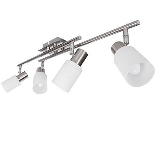 Wohnling 4-flammiger LED-Strahler,inkl. 4x4 Watt Leuchtmittel, Drehbare Deckenlampe zwei Arme IP20 Fassung E14 LED Diele Flur, Deckenleuchte Spots Wohnzimmer Schlafzimmer Kinderzimmer, warmweiß