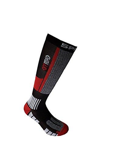SPRING Motocross / MTB Socken - OFF ROAD SUMMER schwarz-grau-rot: Größe Socken: 42-44