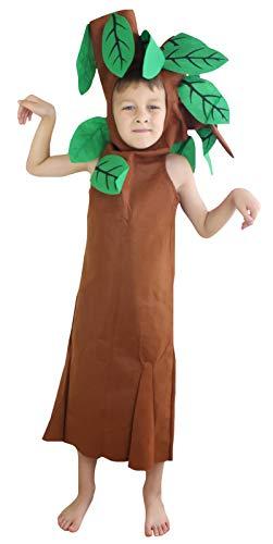 Petitebelle Déguisement d'arbre unisexe pour enfant Tailles 4 à 14 ans - marron - Medium