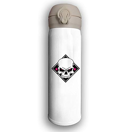 LZHANDA Thermosflasche,Vakuumisolierte Trinkflasche,Wasserflasche, Bounce Cover Designed Evil Skull,Leak-Proof Vaccum Cup,Travel Mug with Stainless Water Bottle,Sports Drinking Bottle Fashion