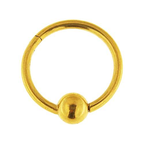 Gold eloxiert 16 Gauge - 12MM Durchmesser 316L Chirurgenstahl Clicker eingehängt Captive Bead Ring Piercingschmuck