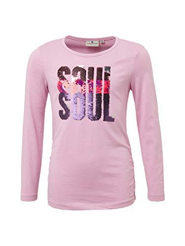 TOM TAILOR für Mädchen T-Shirts/Tops Langarmshirt mit Pailetten Artwork Orchid Bouquet Purple, 140 - Orchid Bouquet Bekleidung
