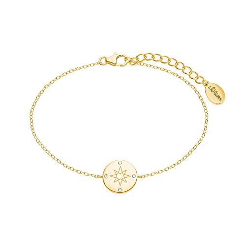 s.Oliver Armkette für Damen mit Kompass-Anhänger aus 925 Sterling Silber gelbvergoldet, längenverstellbar (16+3 cm) weiß