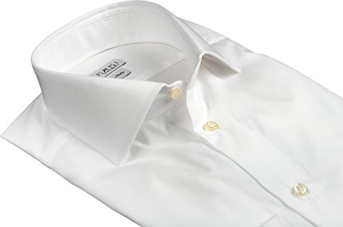 Ernani Chemise Twill Blanc Slim Fit, Col Italien, Homme - Made in Italy - Blanc
