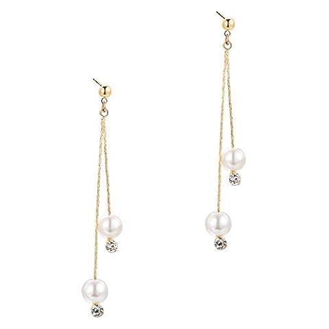 BABEYOND Damen Ohrringe überzogene Messing nachgemachte Perlen Troddel Dangling Tropfen Muster Ohrringe Art Deco Damen Modeschmuck Accessoires 2.95
