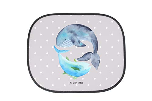 Mr. & Mrs. Panda Geschenk, Kinder, Auto Sonnenschutz Walfisch & Thunfisch - Farbe Grau Pastell
