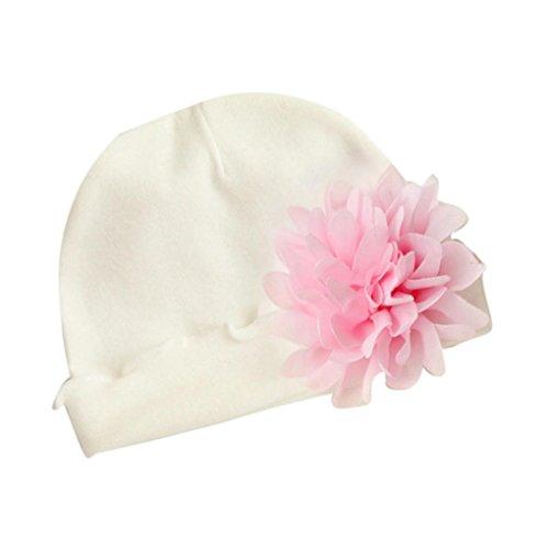 erthome Baby Hütte Kappe, Neugeborenes Baby Mädchen Infant Kleinkind Baumwolle Blume Hut Soft Hut Cap (Weiß)
