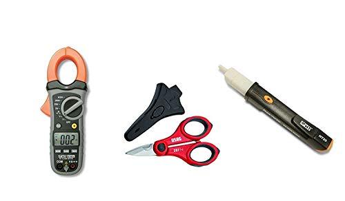 HT Kit Promo HT 4010 Pinza Amperometrica Tester Digitale Led per misure di corrente fino a 600A + HT20 Strumento Cercafase Elettronico + Forbice per elettricista 207 N in omaggio