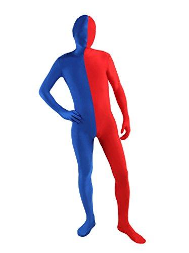 CHENGYANG Unisex Cool Fancy Kleid Anzug Spandex Ganzkörperkostüm Sekond Skin Rot Mit Blau S