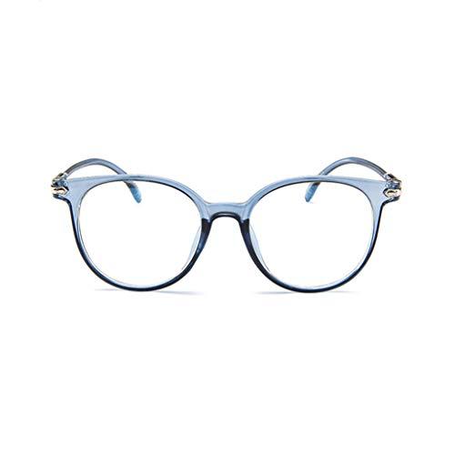 Kostüm Plexiglas - REALIKE Unisex Brille Elegant Flacher Spiegel Runder Rahmen Brillengestell Brille Anti-Blaulichtbrille, Retro-Brillengestell Aus, (Farbe : Blau, Schwarz, Lila, Rosa, Weiß)