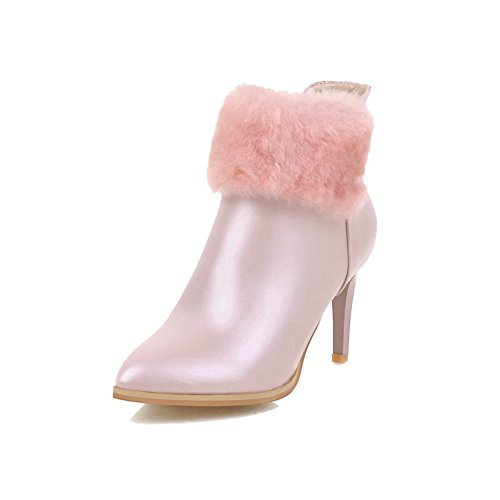 VogueZone009 Damen Spitz Zehe Rein Niedrig-Spitze Hoher Absatz Stiefel mit Metallisch Pink